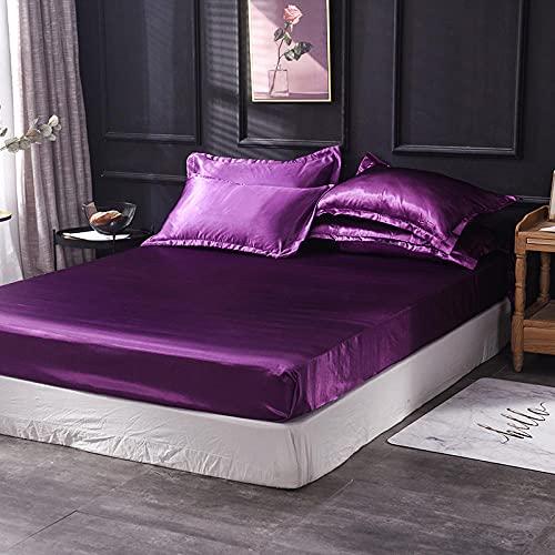 XGguo Protector de colchón - óptimo antiácarosSábana de Cama Pure Color Full Covered Bed Cover-Violet_180x200cm