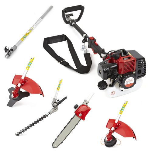 Trueshopping® 33cc Petrol Multi Tool Long Reach Multi Function 5 In 1 Garden Tool - Includes: Hedge Trimmer, Brush Cutter, Chainsaw Pruner & Free Extension Pole 2-Stroke 1.1KW 1.5HP