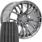 OE Wheels LLC 17 Inch Fit Corvette Camaro C7 Z06 Style Chrome 17x9.5 Rims and Toyo Proxes Sport All Season Tires Hollander 5734 SET