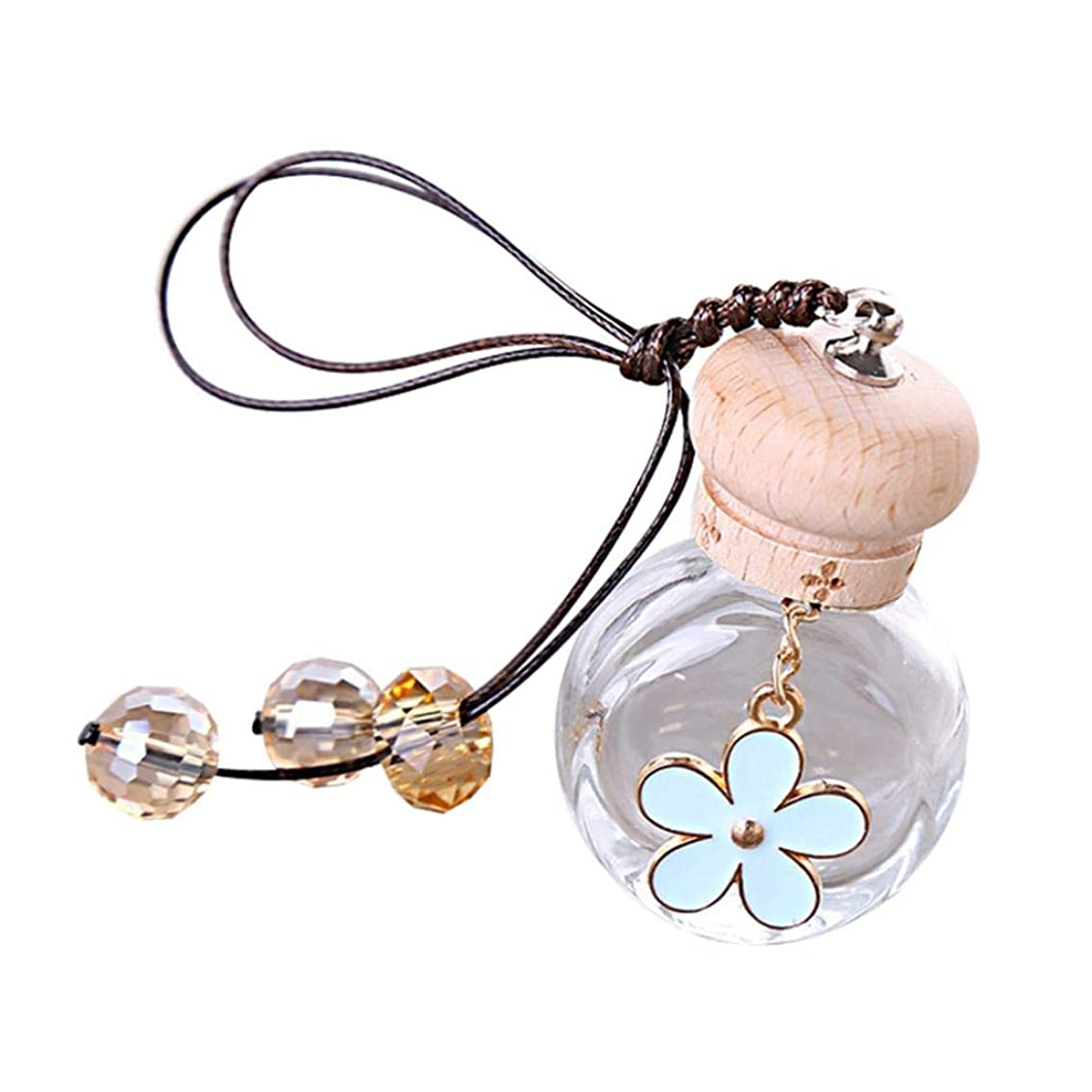 Aroma Diffuser Lovely Flower Glass Empty Perfume Bottle Pendant Car Hanging Ornament Decor - Blue