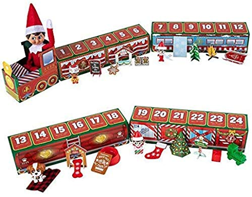 ZGHYBD 24 Days Countdown Christmas Elf Train Toys, Elf on The Shelf North Pole Advent Train,Kids Gifts Christmas Train Toys,Best Advent Calendar for Family