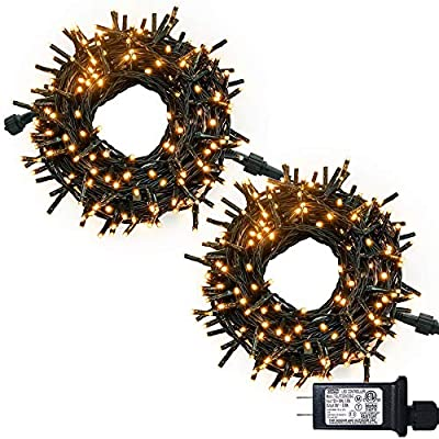 JMEXSUSS Christmas String Lights Warm White, 183ft 500 LED Green Wire Waterproof Fairy String Lights with 8 Lighting Modes, LED Lights Christmas Decorations Clearance (250 LED Light Bulbs x 2)
