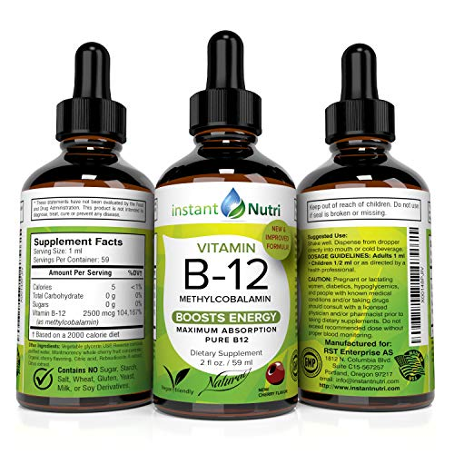 Vitamin B12 Methylcobalamin Sublingual Liquid Drops - Energy Boost and Pernicious Anemia Supplement - Best Absorbing Active Methyl B-12 for Kids Growth & Vegan Friendly. 2500 mcg VIT B 12, 2 fl oz