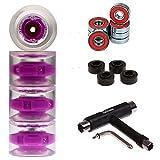 FunTomia 4 Stück (LED) Longboard/Skateboard Rollen (Big Wheels)...