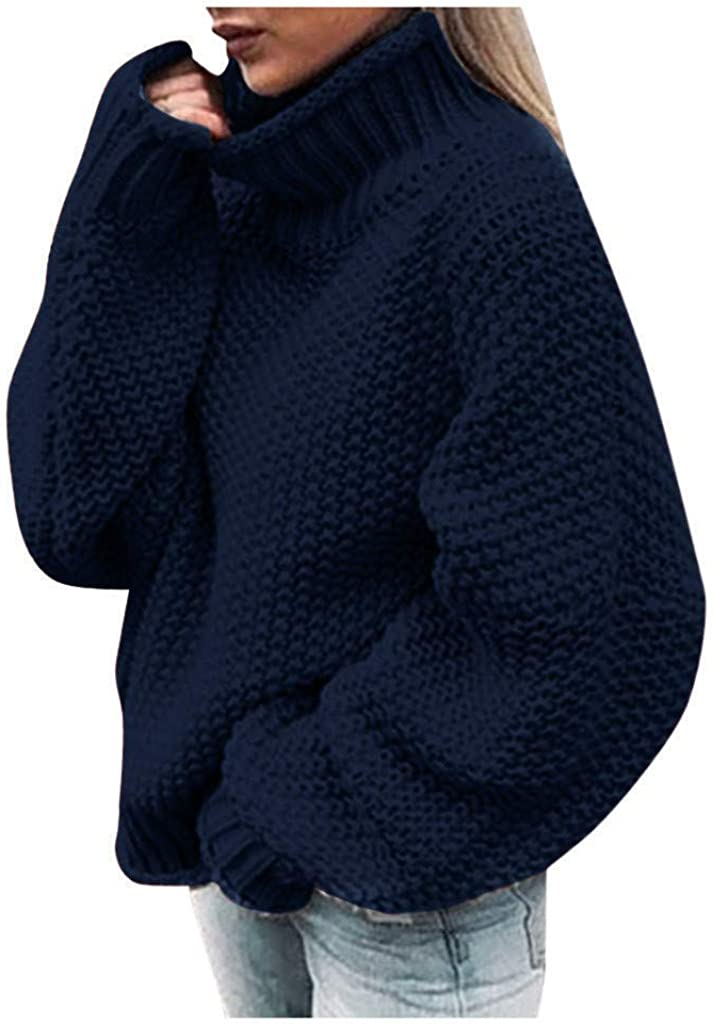 FABIURT Sweaters for Women, Womens Casual Turtleneck Asymmetric Hem Wrap Pullover Chunky Button Loose Knit Sweater Tops