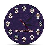 yage Reloj de Pared de Calavera, Reloj de Pared Decorativo c