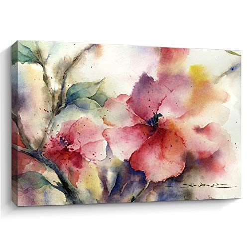 Flower Canvas Wall Art Picture: Watercolor Floral Artwork Painting on Canvas for Bedroom bathroom art floral canvas wall art bathroom wall pictures for living room (D,12' X 16')