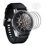 Wengerui 4 Stücke Panzerglas Schutzfolie für Galaxy Watch 46mm, Gehärtetem Glas Bildschirmschutzfolie [9H Festigkeit] [Anti-Kratzen] [Anti-Bläschen] [Vollständige Abdeckung] (46mm, Mit Saugnapf)