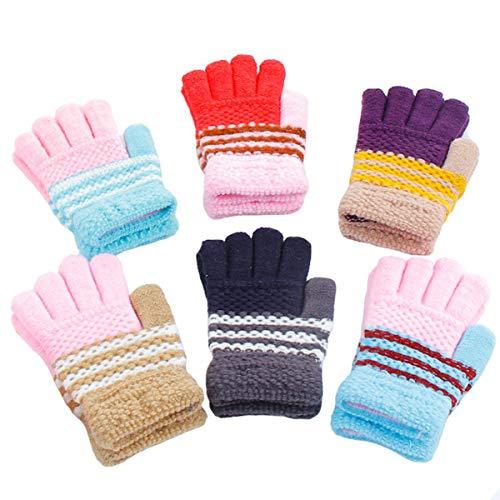 dancepandas Kinderhandschuhe Strick 6PCS Fingerhandschuhe Strickhandschuhe Stretch Handschuhe Cute Vollfinger Handschuhe für Jungen Mädchen