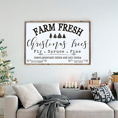 Judy554Bart Christmas Tree Framed Sign, Farm Fresh Hot Cocoa Distressed Art, Farm Fresh Sign, Holiday Wall Art, Farmhouse Style Wall Decor, Large Sign