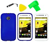 Phone Cover Case Cell Phone Accessory + Extreme Band + Stylus Pen + LCD Screen Protector + Yellow Pry Tool For Motorola Moto E 2nd Gen 4G LTE 2015 (Blue)