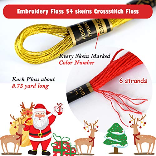 Embroidery Floss 54 skeins Crossstitch Thread - Bracelets String - 50Pcs Embroidery Thread and Free Set of 4pcs Metallic Thread