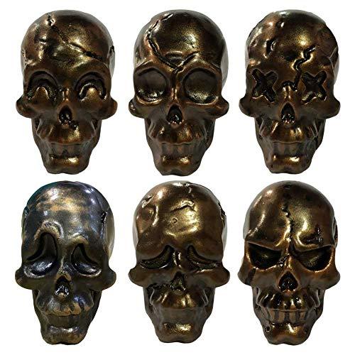PandaLegends 6 Piezas de cráneo simulado Gabinetes de Resina Perillas Divertido Cráneo Tirones de Cara Armario Cráneo Hueso Conjunto de manijas de cajón, Bronce