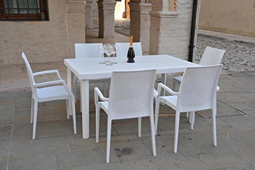 Grand Soleil 5117 Tavolo Polipropilene, 150X90, Boheme, Bianco