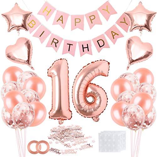 16 Geburtstag Rosegold Dekoration Ballons,Rosegold Konfetti Ballons,16. Geburtstag Luftballons Happy Birthday Banner,Riesen Zahl 16 Folienballons für Frauen Mädchen