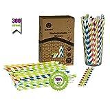 GoBeTree 300 Pajitas de Papel biodegradables Colores Variados con Forma de Cuchara, Pajita Desechables ecológicas compostables. Cañitas para Fiestas, cumpleaños. Bebidas frías y Calientes.