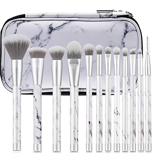QWQ69 Pinceaux de Maquillage en marbre 12 pièces Ensemble de pinceaux de Maquillage Premium Foundation Foundation Pinceaux cosmétiques avec Sac à cosmétiques