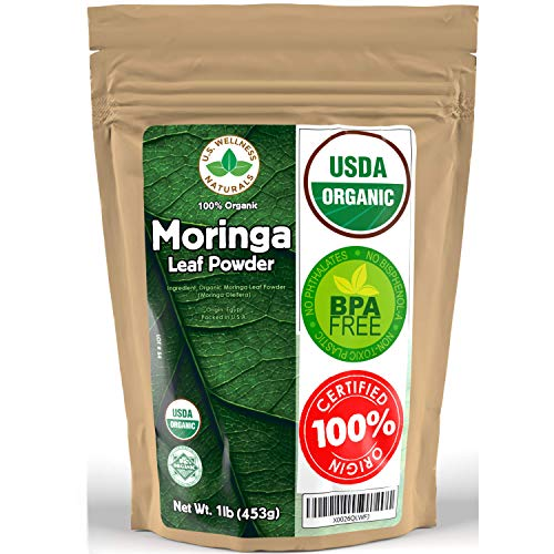 Moringa Powder 1LB (16Oz) 100% CERTIFIED Organic Oleifera Leaf - (100% PURE LEAF | NO STEMS) - Raw from Egypt | Smoothies | Drinks | Tea | Recipes - Resealable Bag