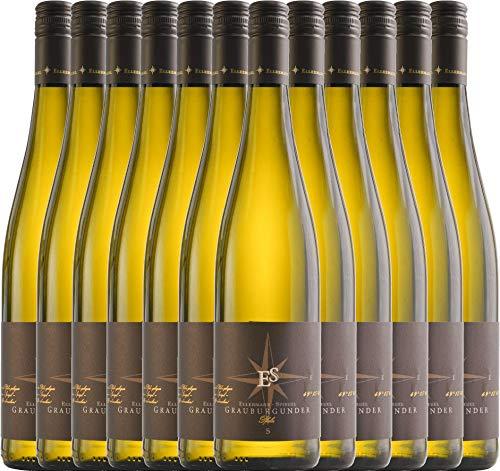 VINELLO 12er Weinpaket Weißwein - Grauburgunder trocken 2019 - Ellermann-Spiegel mit Weinausgießer | trockener Weißwein | deutscher Sommerwein aus der Pfalz | 12 x 0,75 Liter
