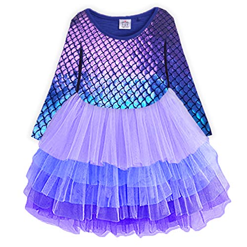 VIKITA Toddler Girl Purple Tutu Winter Long Sleeve Tutu Party Dresses for Girls(LH4599, 5)