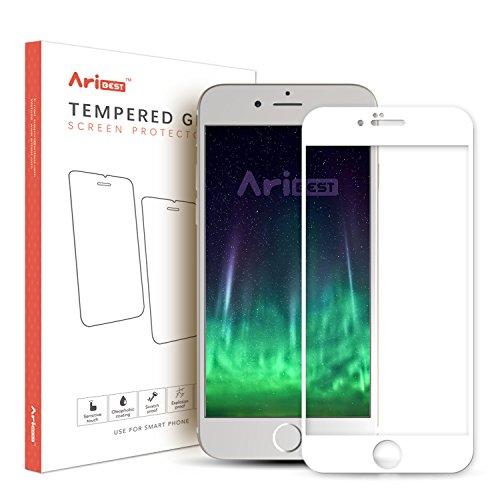 Protector de Prima de Cristal Templado iPhone 7 Aribest Protector de Pantalla iPhone 7 Cobertura Completa Protecci/ón Completa de la Pantalla para el iPhone 7 Blanco Bordes curvados 3D para Mejor a