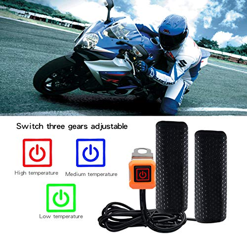 Keenso Universal 7//8 Motorcycle ATV 22mm Handlebar Grips Heated//Voltmeter//USB Charger for Motorcycle//Bike//ATV 1 Pair 12V Motorcycle Heated Grips 10W - 15W