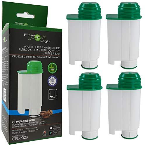 Filterlogic CFL-902B | Lot de 4 - Filtre à Eau Compatible avec Saeco Philips CA6702/10 CA6702/00 CA6702 Brita Intenza+ Cartouche filtrante pour Machine à café et Expresso Automatique