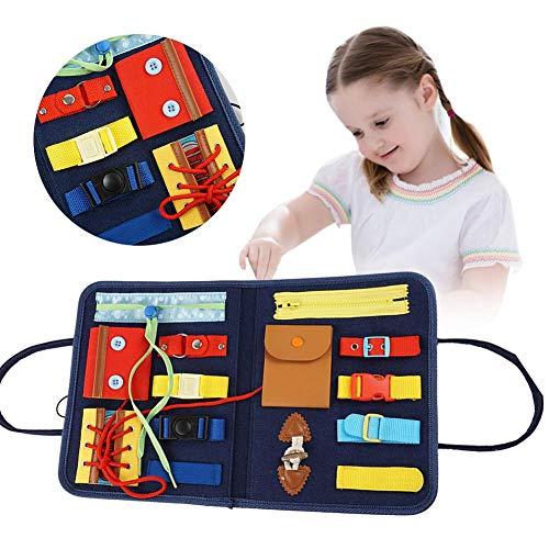 Tabla ocupada Montessori para niños, juguetes educativos de fieltro, juguetes para actividades básicas para niños, desarrollo de habilidades básicas y habilidades motrices finas