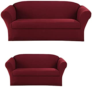 Sapphire Home 2-Piece SlipCover Set for Sofa Loveseat Couch, Form fit Stretch, Wrinkle Free, Furniture Protector Cover Set for 3/2 Cushions, Polyester Spandex, 2pc Slipcover Set, Burgundy