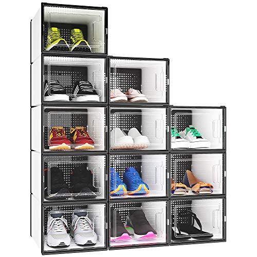 YITAHOME Medium Size Shoe Box, Set of 12 Shoe Storage Organizers Stackable Shoe Storage Box Rack Containers Drawers - Medium Size