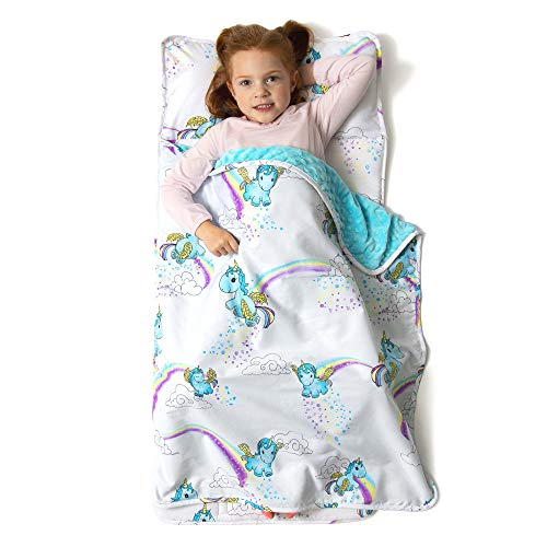 JumpOff Jo – Toddler Nap Mat – Children's Sleeping Bag with Removable Pillow for Preschool, Daycare, Sleepovers – Original Design: Unicorn Pixie Dust - 43 x 21 inches