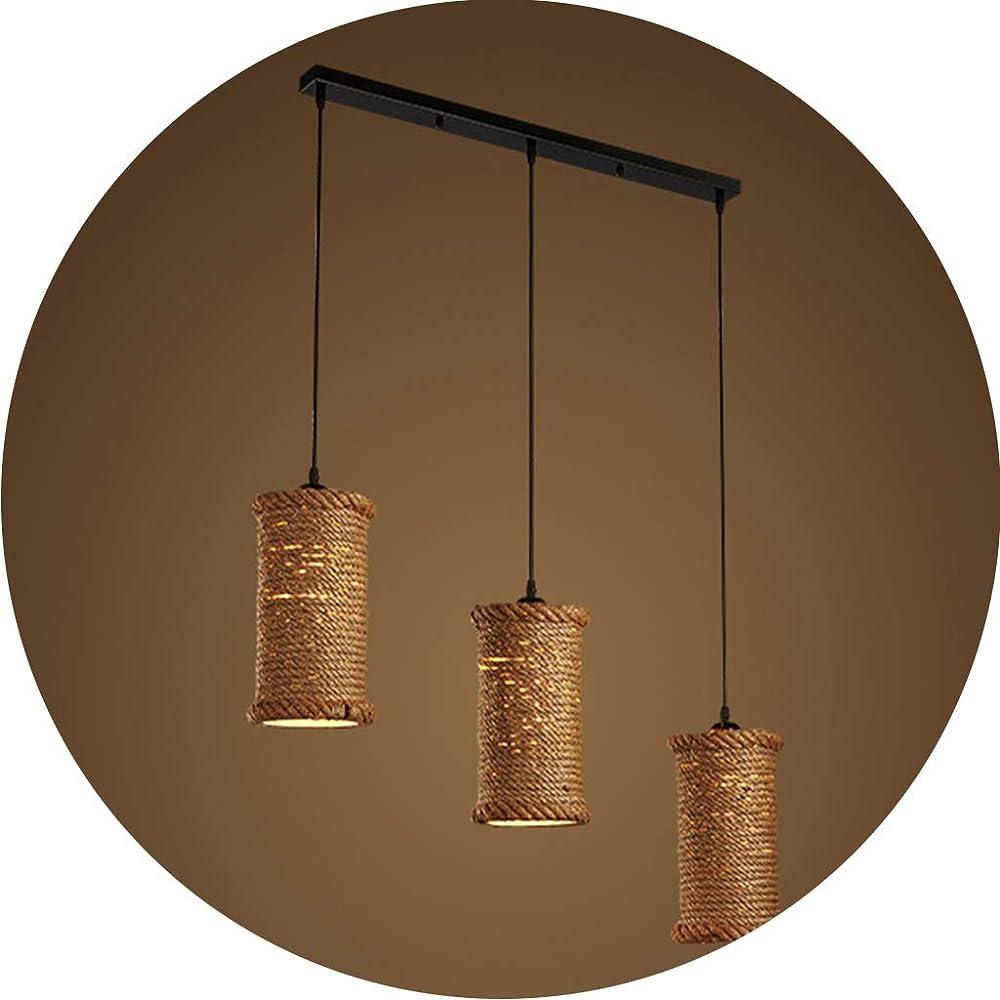 Pendant light,lampadario vintage,a sospensione,in ferro e corda Dd-070