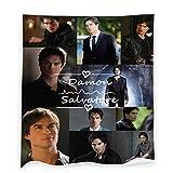 Vampire-Diaries-Damon-Salvatore Throw Blanket, Ian Somerhalder Flannel Blankets for Bedding Sofa Living Room Throws Home Decoration All Season 40x50 inch