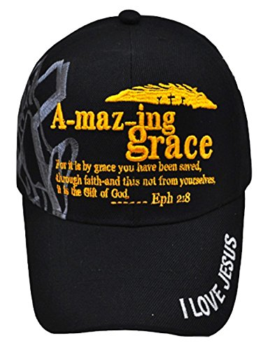 USA Headwear Christian Baseball Cap, Amazing Grace Hat, Cool, Prayer Praying Hands Shadowing Adjustable to Fit Most Men, Some Women and Older Teen Boys, Religious and Spiritual Clothing Accessory