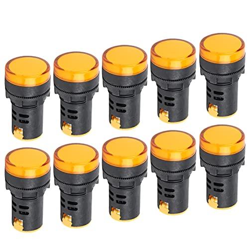Luz indicadora de sinal amarelo, efeito de indicação perfeito Lâmpada indicadora de LED de alto brilho para indicação de sinal para instrumentos e equipamentos(AC220V)