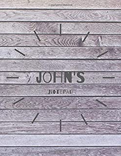 John's Notepad: Personalised Notebook Journal: 8.5 x 11 in, 120 page College Ruled Lined Notebook with Margin. Notepad, Personal Diary, Task Journal for Boys - personalized name