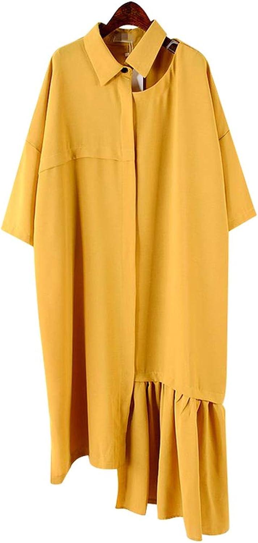 Cute Emma Summer Solid Patchwork Ruffles Hem Dress Women Lapel Hollow Out Short Sleeve Loose Asymmetrical Dresses