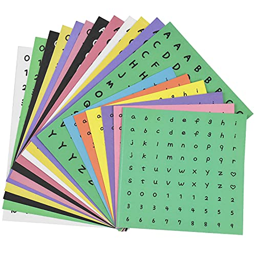 Pinsheng 18 fogli adesivi con lettere dell'alfabeto autoadesive, per idee fai da te, album fotografici, decorazioni di biglietti di auguri