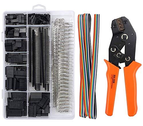 JZK Crimptång spärr krimpverktyg SN-28B tång med hane hona stiftkontakter kit 2,54 mm stifthuvud blandade pluggar uttag platt bandkabel set crimpverktyg