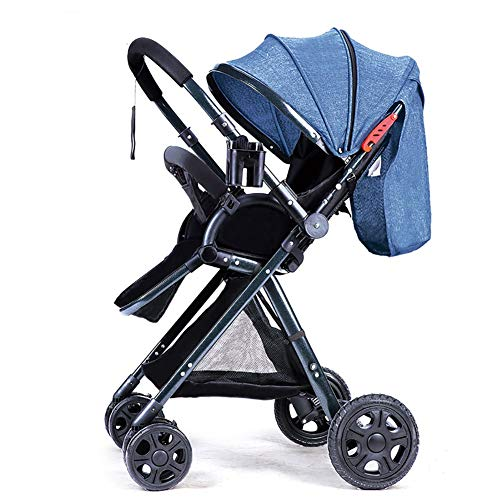 Paseante Cochecito de bebé - Cochecito reversible All Terrain Cynebaby Vista City Cochecitos selectos for bebé Cochecito Cochecito de niño (Color : Linen blue)