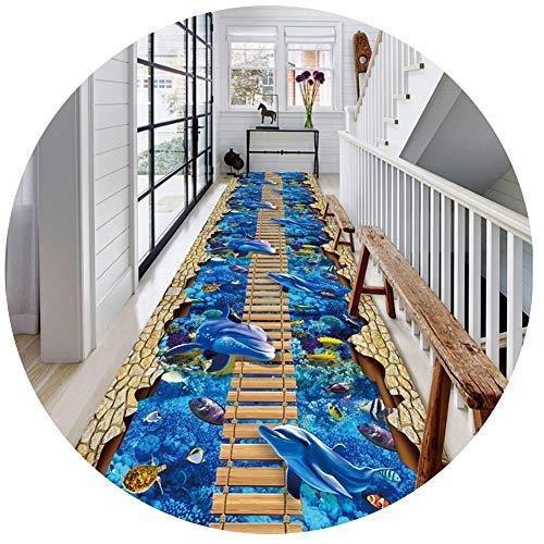 FINLR-Läufer Teppiche Flur Brücke Teppichläufer 3D Schneidbar Lange Gang Hotel Haushalt Treppe rutschfest Einfach Zu Säubern (Color : A, Size : 0.9x3m)
