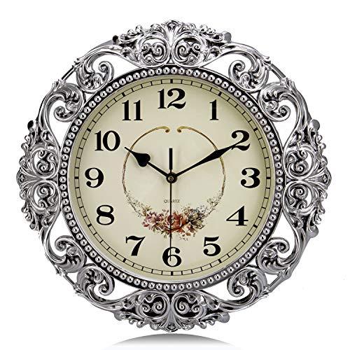 Lafocuse Reloj de Pared Silencioso Europeo Vintage Reloj Cuarzo Antiguo Grande Plateado para Bar Salon Comedor Dormitorio 38 cm