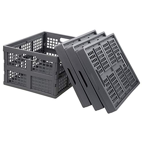 Farmoon 35 Quart Folding Collapsiable Crate Plastic Storage Milk Crates4 Packs Grey