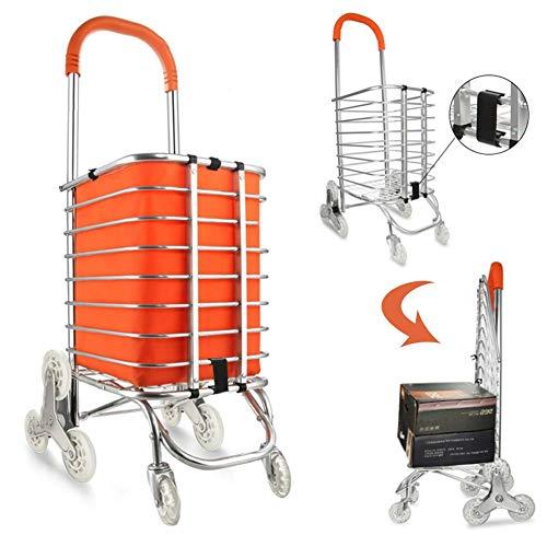 GUOOK Klapp-Einkaufswagen Utility Transit Stair Climbing Cart Roll-Einkaufswagen Mit Lenkrad, Aluminiumrahmen Praktische Aufbewahrung, Orange