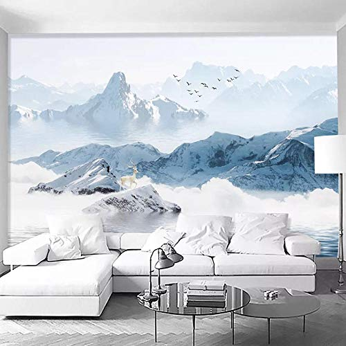 Papel Pintado Pared Dormitorio Fotomurales Decorativos Pared Tapiz De Pared 3D Nieve Montaña Paisaje Pintura Al Óleo Fresco Pared Papel Pintado Cuadros Habitacion Bebe Posters Mural