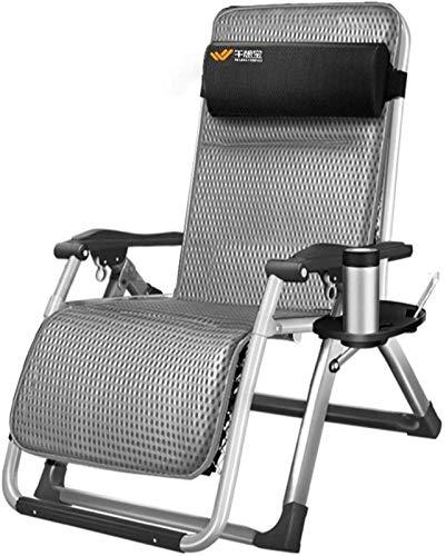 TUHFG Liegestuhl Bsjz-Deckstuhlgarten Liegestuhe und -zieher Sunes-Bett-Büro-Klappstühle mit Kissen in Textoline mit freier Beistelltisch/Cup-Halter (Color : Silver, Size : Without Cushion)