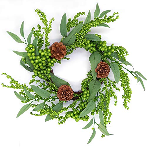 """Aimanni 16"""" Christmas Wreath, Red Berry & Pinecones Artificial Wreath, Handmade Floral Front Door Wreath for Holiday Festival Home Farmhouse Wall Decor"""