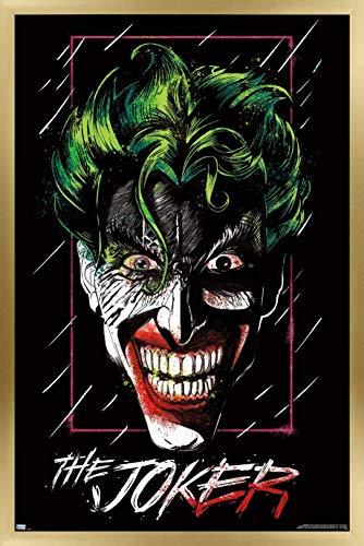 Trends International DC Comics - The Joker - Up Close Wall Poster, 14.725' x 22.375', Gold Framed Version