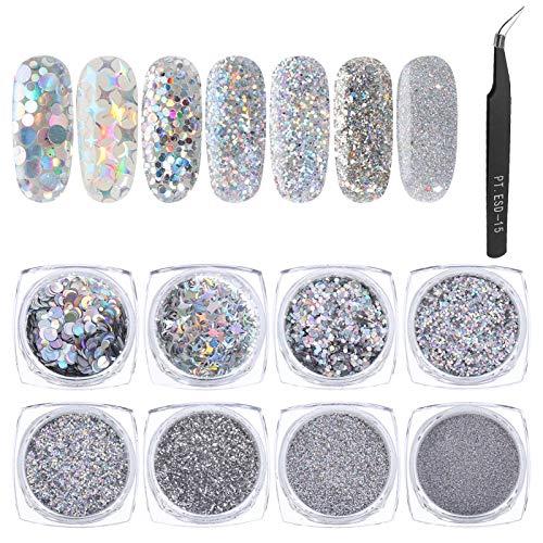 QINREN 8 Box Glitzerpulver Nägel Glitzer Nagel Pailletten Nail art Glitter mit Pinzette für Nägel Decals,Körper Glitzer Pulver,Epoxidharz Deko