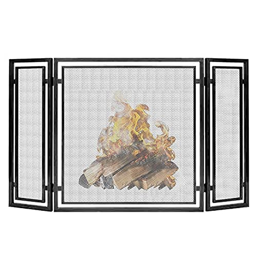 salvachispas chimenea Pantallas de Chimenea Negras de 3 Paneles Decorativas, Puerta de Hogar Moderna Y Alta a Prueba de Niños Al Aire Libre, Valla de Chimenea de Malla para Chimenea de Leña de Registr